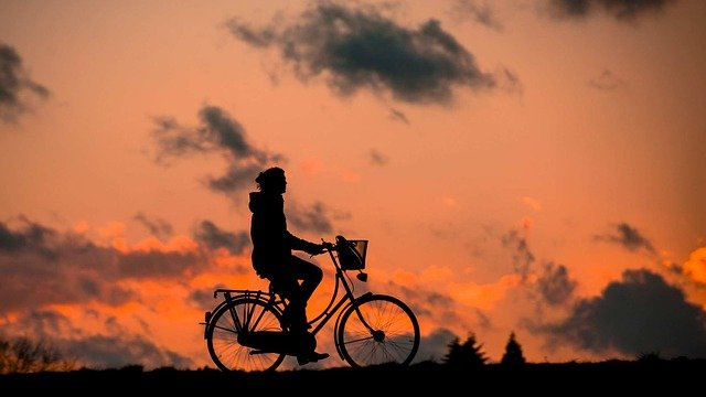 Cycling for good morning exercise.
